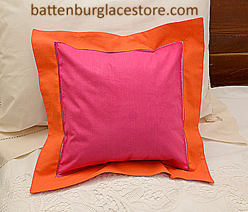 "Pillow Sham. RASPBERRY SORBET with FLAME ORANGE border.12"" SQ."